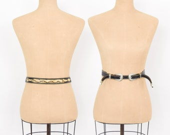 80s Snakeskin Belt | Leather and Python Snakeskin | Silver Buckles Belt | Apple Accessories