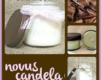 Mason Jar Candle - Soy Candle - Soy Scented Candle - Oud Wood Candle - Wood Candle - Jar Candle - Just Because Gift - 4 or 8 oz