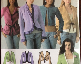 Simplicity 4029 - Shortwaisted or Hip Length Jacket with Trim Options - Size 6 8 10 12 14