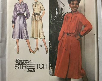 Simplicity 9161 - 1970s Stretch Knit Pullover Shirt Dress - Size 12 14 16