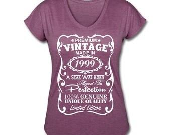 18th Birthday Shirt for Girls - 18th Birthday Gift for Women *VELVETY PRINT* *Tri-Blend Colors* - Made in 1999 Shirt - Birthday Gift for Her