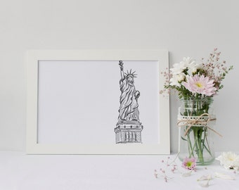 NYC Statue of Liberty Art Print | New York City Wall Art | Gift | 5x7 or 8x10