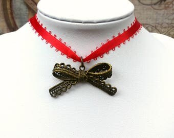 Red Lace Choker, Ribbon Kitten Bow, Bow Charm Necklace, Choker Necklace, Kitty Collar - 00070