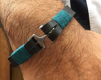 Mens Leather Bracelet, Minimalist bracelet, Black leather bracelet, Mens Gift, Men bracelet, Anchor Bracelet, Nautical Cuff Navy style.
