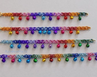 Rainbow Helms' chain pattern chainmaille anklet with bells by RainbowMaille