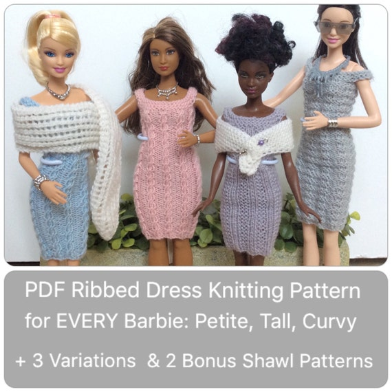 Barbie Clothes Knitting Pattern For Cabled Ribbed Dress And 2 Shawls