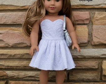 18 inch doll clothes AG doll clothes White strapless dress made to fit like American Girl doll clothes