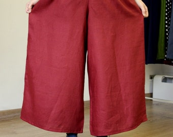Pantaloon mod. Poppy-red linen-