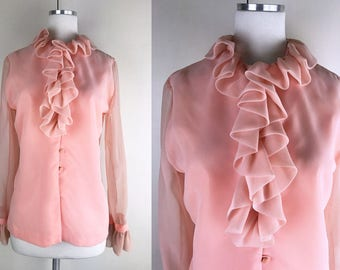 1960s Peach Coral Orange Bullock's Wilshire Blouse // 60s Ruffled Collar Retro Romeo Button Up Blouse with Sheer Long Sleeves
