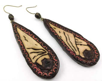 Large Hanging Bat Earrings - Handmade & Eco-friendly
