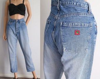 High waisted jeans, Kenzo mom pants, blue denim, 80s vintage retro trousers, straight tapered leg, medium