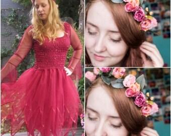 Adult Plus Size Fairy Burgundy Dress ~ Halloween Costume ~ Tea Party ~ Theatre ~ Sweet 16