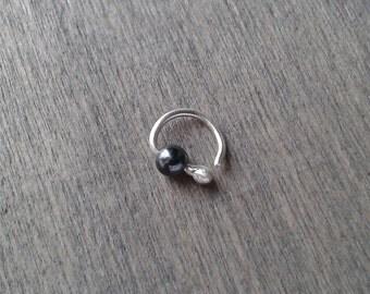 Tiny silver hoop, 7mm, 8mm hoop, beaded hoop, 20 gauge cartilage earring, piercing earring, daith earring, rook earring, forward helix hoop