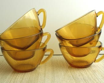 Vintage Vereco Glass Teacups - Vereco France Teacups - Glass Teacups - Honey Amber Glass Teacup - Tea or Coffee Cups - Vintage Teacups