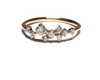 14K Gold Dainty Ring-Diamond Ring-Rose Gold Ring-14K Gold Zirconia Handmade Dainty Ring