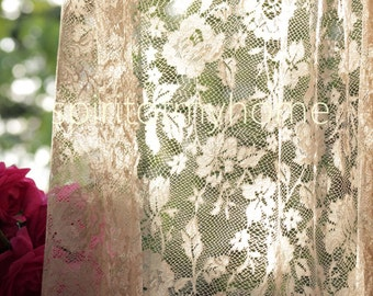ISABÉLLE' Full Lenght Cream Colored Romantic Rose Patterned  Curtain Sale By the Yard