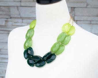 SALE!! Green Beaded Necklace,  Statement Necklace,  Bold Chunky Necklace,  Bib Necklace,  Multi Strand Necklace,  Sale Big Vintage Jewelry