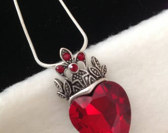 Heart Necklace, Heart Jewelry, Crystal Necklace, Red Necklace, Romantic Gift for Her, Bead Necklace, Women Gift, Simple Necklace, Pendant