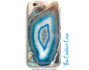 Turquoise Gemstone Phone Case, Blue Agate Phone Case, Geode Case,  Iphone 4/5/5c/6/6+,6S, 6S+, Galaxy S3/S4/S5/S6/S6 Edge, S6 Edge+, Note