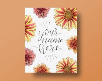 Custom Floral Illustration with Hand-lettered Name