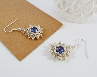 Tanzanite Crystal Earrings, Swarovski Earrings, Star Earrings, Mothers Day, Prom, Evening Jewelry, Silver Beads, Flowers, Sparkling Earrings