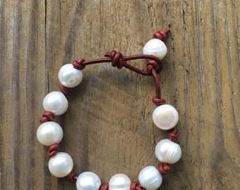 Pearl and leather bracelet - leather bracelet - pearl bracelet - layering bracelet - knotted leather bracelet - June birthstone - boho