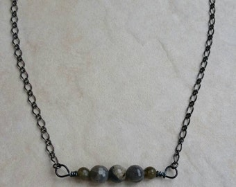 Labradorite wired beaded bar necklace