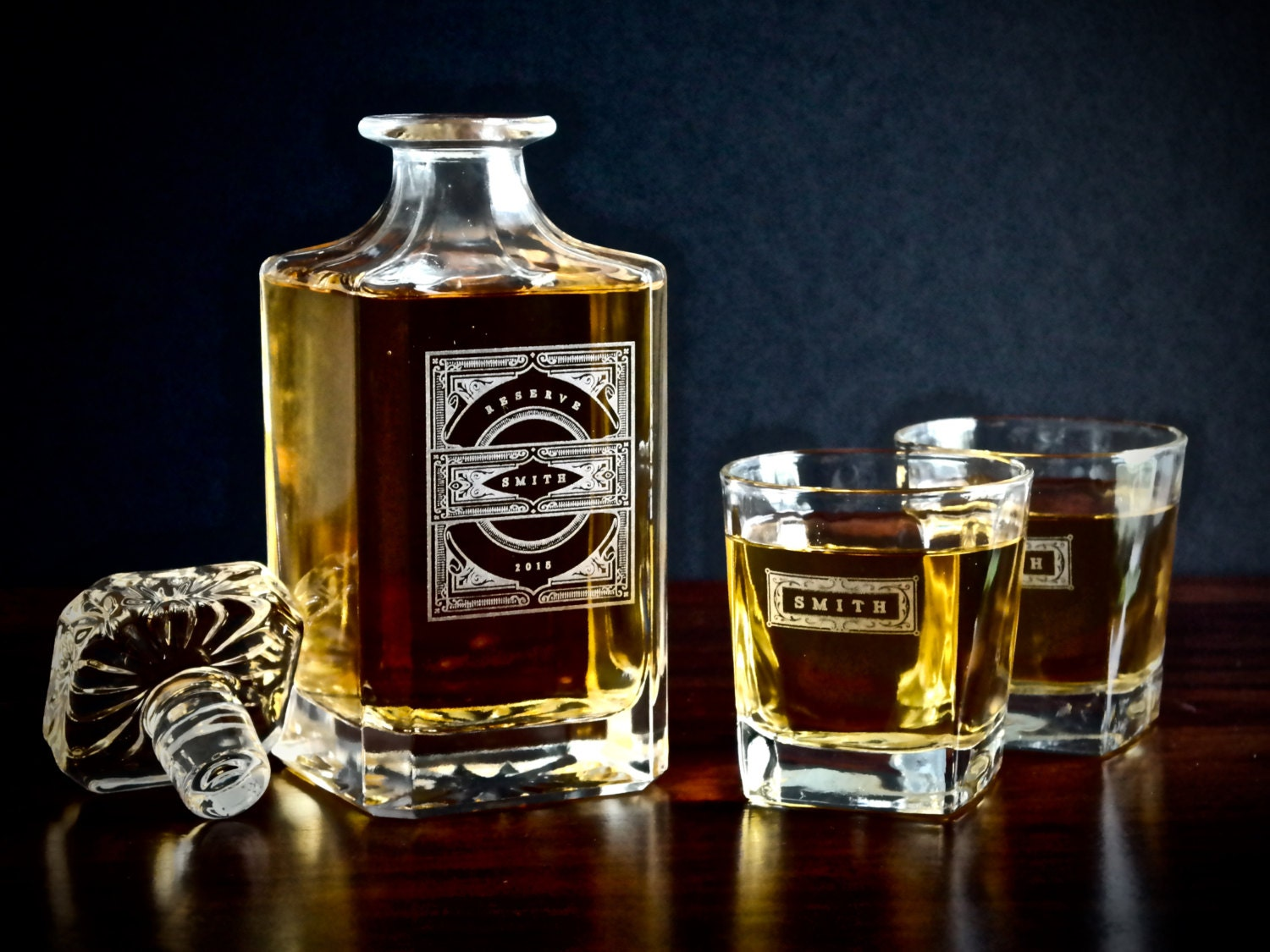 groomsmen gift personalized whiskey decanter set a. Black Bedroom Furniture Sets. Home Design Ideas