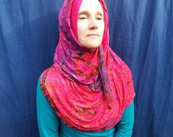 Tie Dye Hijab Head Scarf, Modest Muslimah Headwear, Easy to Wear, Colourful Fashion Head-wrap