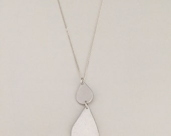 Double drops, teardrop pendant necklace, 960 sterling with sterling silver chain