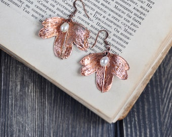Earrings from currant leaves, electroformed leaf,  botanical jewelry, copper dipped, natural jewelry, electroforming, copper electroform