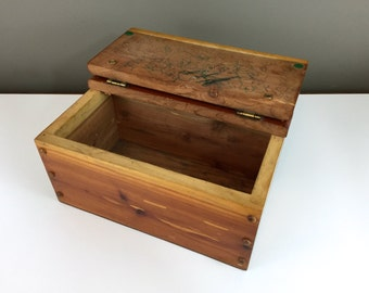 HANDMADE Vintage Cedar Wood Storage Box, Jewelry Box, Cedar Wood Box With  Lid
