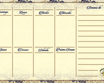 Spanish Royal weekly planner, dry erase calendar, Spanish weekly calendar, Spanish magnetic calendar for refrigerator, Spanish daily planner