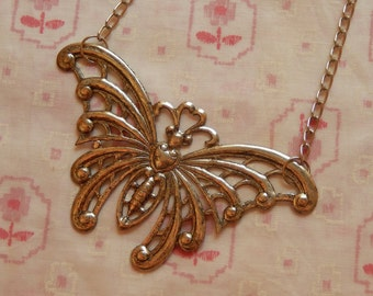 Huge Butterfly Antique Silver Plate Pendant Necklace