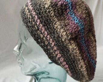 Crocheted hand dyed hemp beret hat
