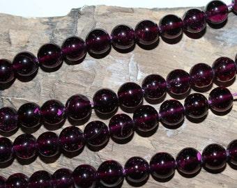 "16"" Strand of 7mm Smooth Round Purple (Grape) Garnet Beads #100"