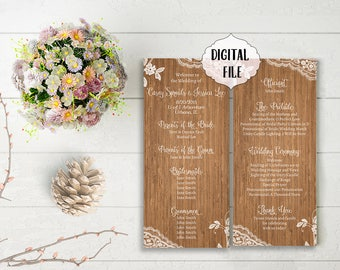 Rustic Wedding Program, wood Programs, Printable Digital file, Printable programs, backside programs, lace, program, wood program