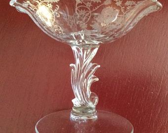 ART NOUVEAU Etched Pedestal Dish    Fostoria Navarre Pedestal Compote   Vintage Etched Crystal