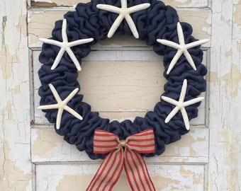 Nautical Burlap Wreath | Fourth of July Wreath | 4th of July Wreath | Patriotic Wreath | Nautical Wreath | Labor Day Wreath