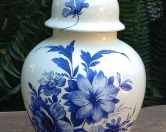 Ceramic Ginger Jar Blue and White Ginger Jar Vintage Floral Ginger Jar Candy Jar