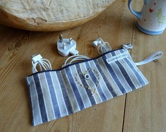 Blue Stripe Triple Tech Tidy /  Smart Pouch Travel Organiser / Love Heart Three Section Jewelry Pouch Organiser / Zipped Triple Organiser
