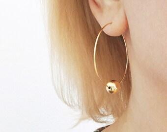 Gold Hoop Earrings with Ball, Silver Hoop Earrings, Large Round Earrings, Minimalistic Earrings, Rock / E520