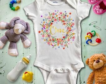"""First Birthday Onesie, Turning One Onesie, Baby Onesie, Custom Baby Onesie, Baby bodysuit, Flower Wreath Onesie, """"One"""" Onesie"""