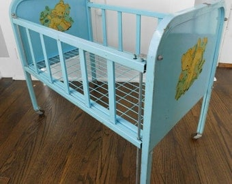 Vintage 1950's Amsco Metal Doll-E-Crib, Blue Baby Doll Bed, Pretend Play