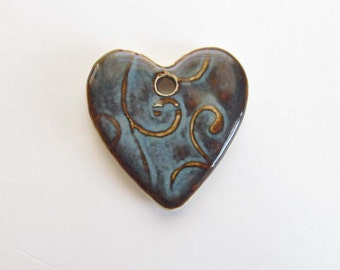 Heart Pendant, Blue Heart Pendant, Ceramic Pendant, Pottery Pendant, Blue Necklace, Blue Heart Necklace, Jewelry Supplies, Craft Supplies