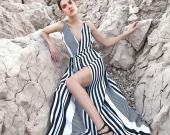 GORGEOUS LONG Dress- Maxi dress-Stripes dress-ELEGANT long dress-Women's Beautiful Dress-Open Back Dress-Formal dress-Gown