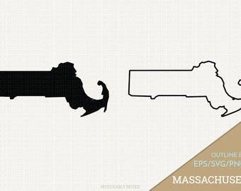 Massachusetts Vector, State Clipart, MA Clip Art, Massachusetts SVG, State PNG  (Design 13736)