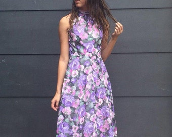 VINTAGE 60's Floral High Neck Sleeveless Dress