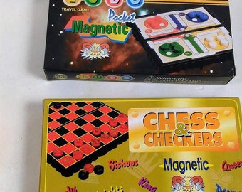 2 Magnetic Travel Pocket Games/Checkers & Ludo/New in Box (P)