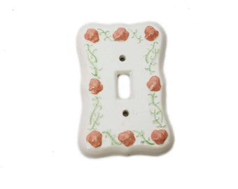 Vintage Hand Painted Pink Floral Single Switchplate, Light Toggle Plate Baby Girl Room Decor, Shabby Chic Decor